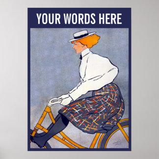 Póster Poster del vintage del chica de la bicicleta