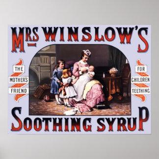 Póster Poster del vintage del jarabe calmante de señora