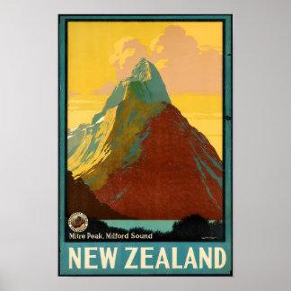 Póster Poster del vintage del viaje de Nueva Zelanda