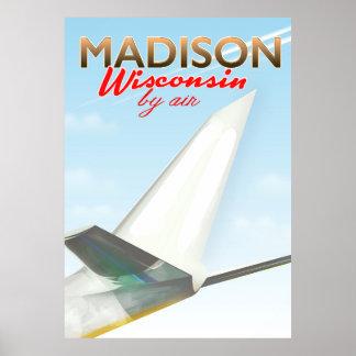 Póster Poster del vuelo del vintage de Madison Wisconsin