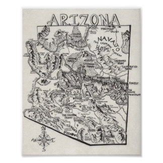 Póster Poster dibujado mano del mapa el | de Arizona