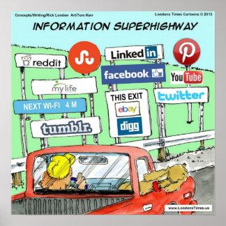Póster Poster divertido de la autopista de información