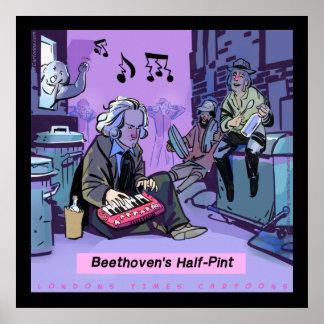 Póster Poster divertido de la media pinta de Beethoven de
