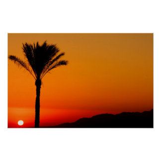 Póster Poster egipcio de la puesta del sol