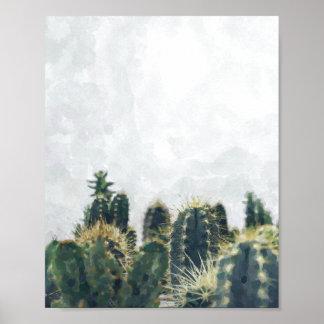 Póster Poster el | 8x10 del cactus de la acuarela