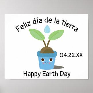 Póster Poster español bilingüe del Día de la Tierra