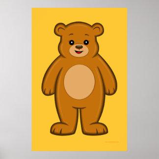 Póster Poster feliz del oso del dibujo animado