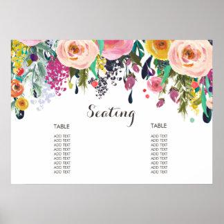 Póster Poster floral pintado de la carta del asiento