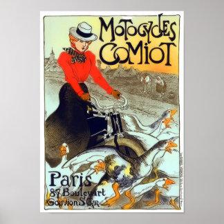 Póster Poster francés del vintage de Motocycles Comiot