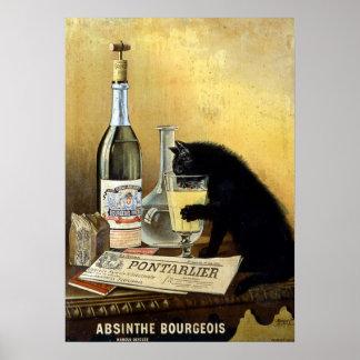 """Póster Poster francés retro """"burgués del ajenjo """""""