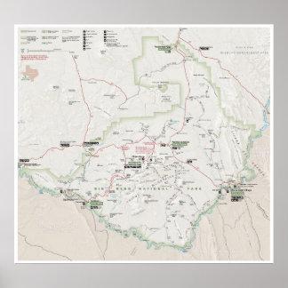 Póster Poster grande del mapa de la curva (Tejas)
