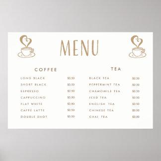 Póster Poster impreso personalizado del menú del precio