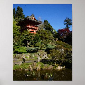 Póster Poster japonés de la puerta del templo del jardín