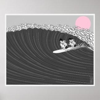 Póster poster japonés de la resaca de la puesta del sol