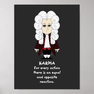 Póster Poster. Karmas y ley de Newton la 3ro (fondo