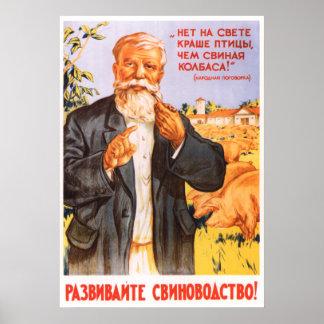 Póster Poster koljosiano soviético 1955 de la propaganda
