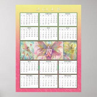 Póster Poster lindo del calendario de la hada 2018