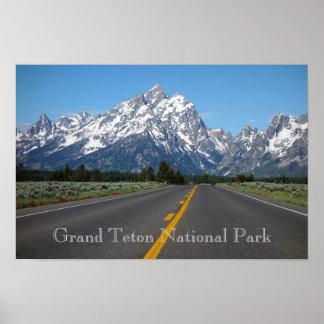 Póster Poster magnífico del parque nacional de Teton