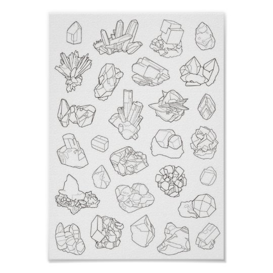 Póster Poster Minerales con línea