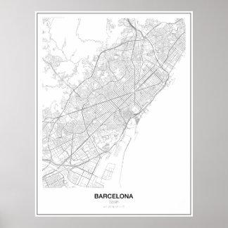 Póster Poster minimalista del mapa de Barcelona, España