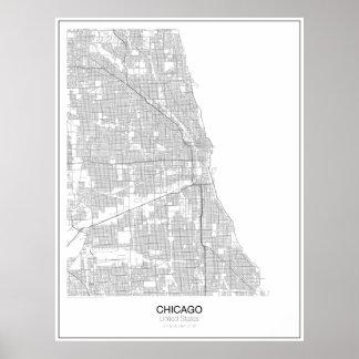 Póster Poster minimalista del mapa de Chicago, Estados