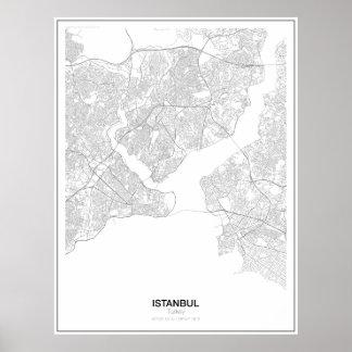 Póster Poster minimalista del mapa de Estambul, Turquía