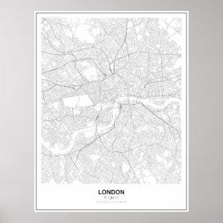Póster Poster minimalista del mapa de Londres (estilo 2)