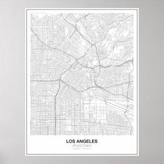 Póster Poster minimalista del mapa de Los Ángeles (estilo