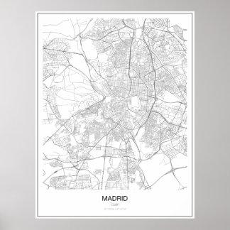 Póster Poster minimalista del mapa de Madrid, España