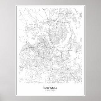 Póster Poster minimalista del mapa de Nashville, Estados