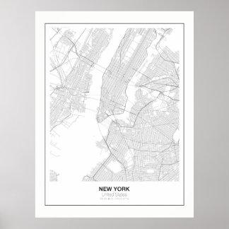 Póster Poster minimalista del mapa de Nueva York con el