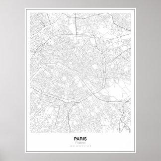 Póster Poster minimalista del mapa de París, Francia