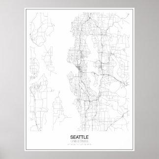 Póster Poster minimalista del mapa de Seattle, Estados