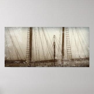 Póster Poster náutico de los barcos de los veleros de los