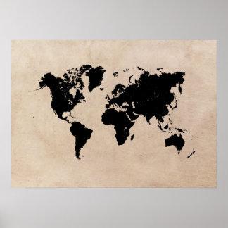 Póster poster negro del mapa del mundo