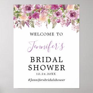 Póster Poster nupcial floral violeta de la recepción de