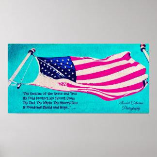 Póster Poster patriótico de la bandera americana