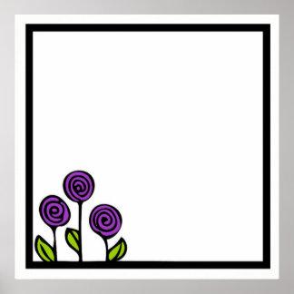 Póster Poster púrpura del dibujo de la flor