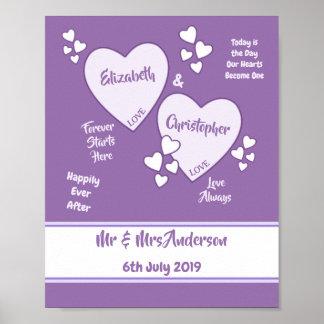 Póster Poster púrpura y de la lila del boda de la muestra