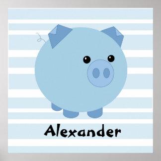 Póster Poster rechoncho azul personalizado del cerdo