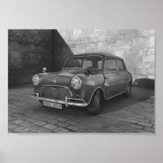 Póster Poster retro blanco y negro de Mini Cooper del