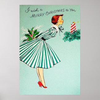 Póster Poster retro de la señora del día de fiesta del