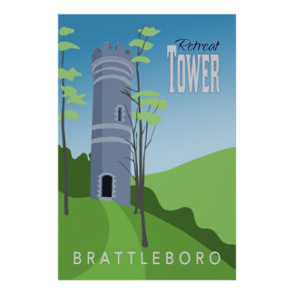 Póster Poster retro de la torre del retratamiento