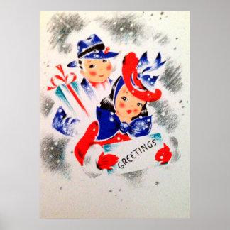 Póster Poster retro del vintage del día de fiesta de los