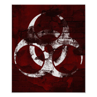 Póster Poster rojo del ejemplo del Bio-Peligro de la