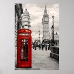 Póster Poster rojo del paisaje de Big Ben del teléfono de