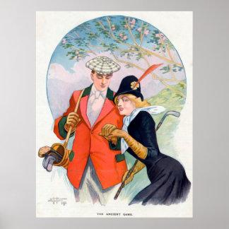 Póster Poster romántico de los pares del golf