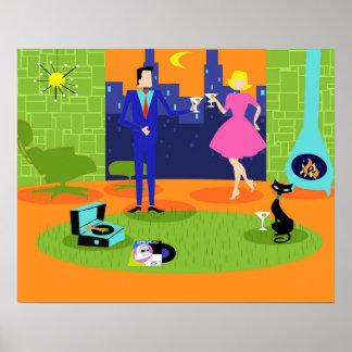 Póster Poster romántico retro de los pares de la tarde