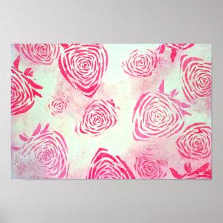 Póster Poster rosado de los rosas de la fresa