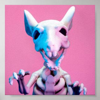 Póster Poster rosado y azul del esqueleto de la rata
